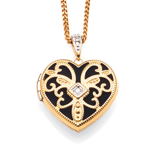 9ct Gold & Sterling Silver Diamond Locket
