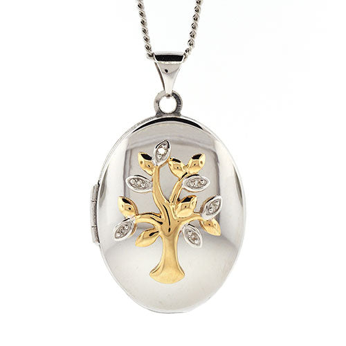9ct Gold & Sterling Silver 'Tree Of Life' Locket