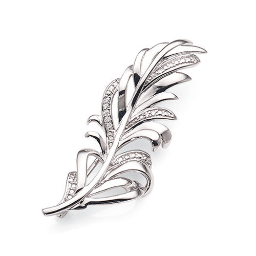 Sterling Silver & Cubic Zirconia Feather Brooch