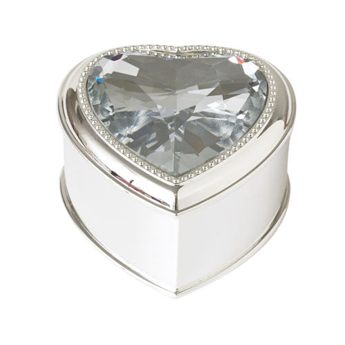 Silver-Tone Crystal Trinket Box
