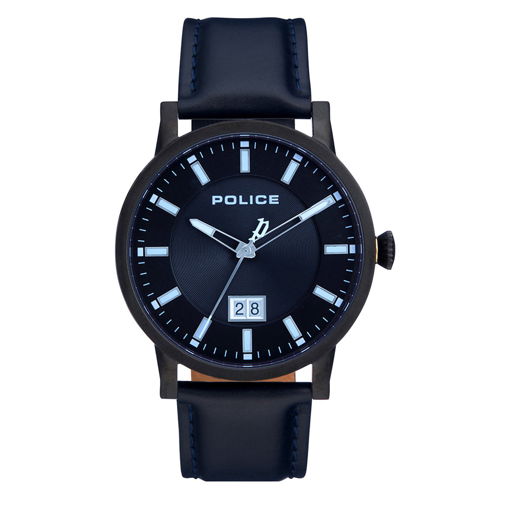 Police 'Collin' Navy Leather Watch PL15404JSB/02