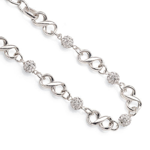 Sterling Silver Crystal Ball Bracelet