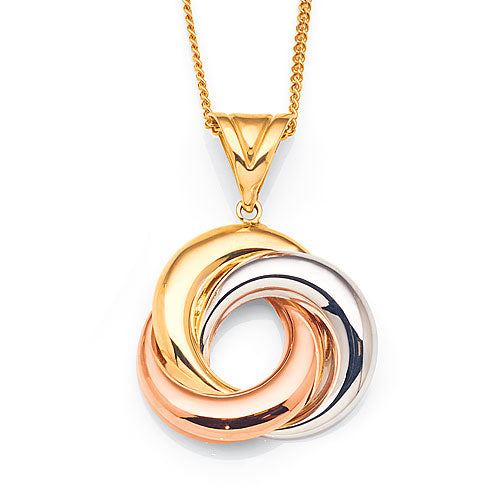 9ct 3-Tone Gold Circle Pendant