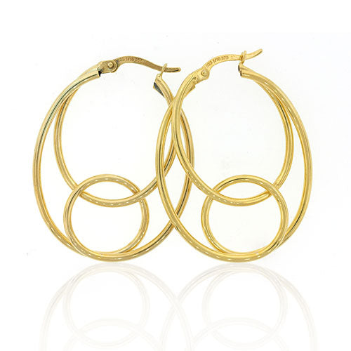 9ct Gold Bonded Oval Hoop Earrings