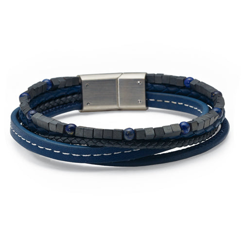Gents Stainless & Leather Woven Bracelet