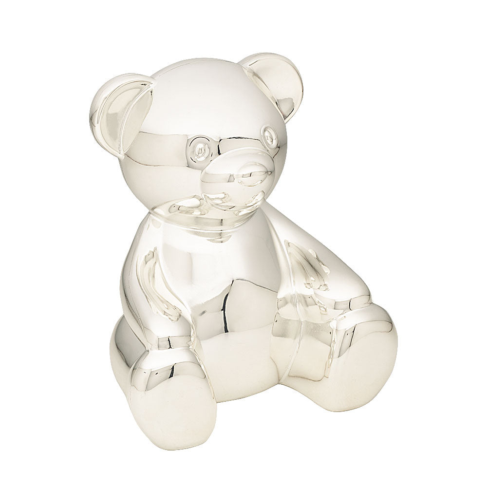 Silver-Tone Edwards Bear Money Bank