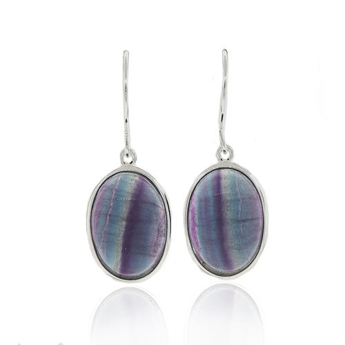 Sterling Silver Rainbow Fluorite Hook Earrings
