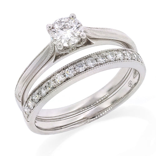 9ct White Gold Diamond Solitaire Bridal Set