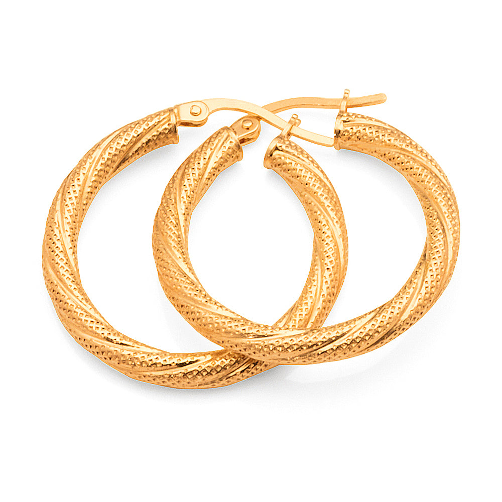 9ct Yellow Gold 20mm Pattern Hoops