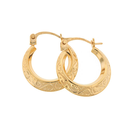9ct Gold 10mm Tapered Textured Hoop Earrings