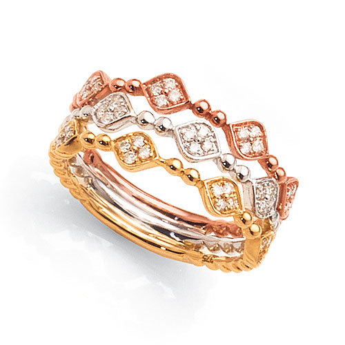 9ct 3-Tone Gold Diamond Ring