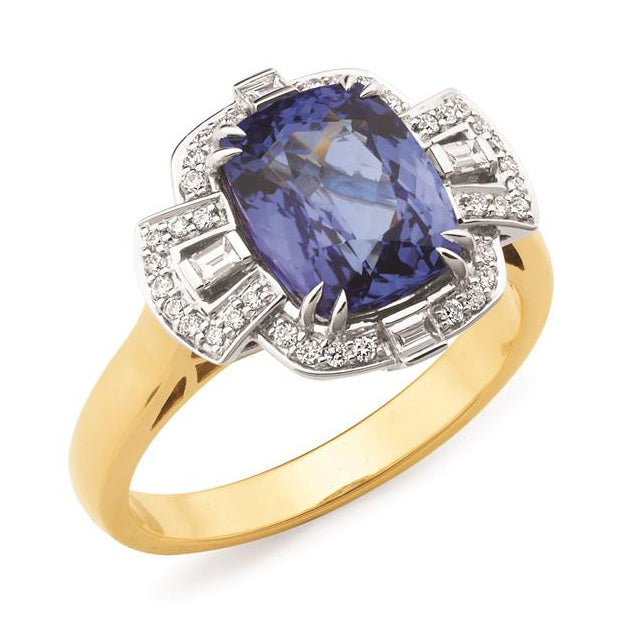 18ct Yellow & White Gold Tanzanite Diamond Ring