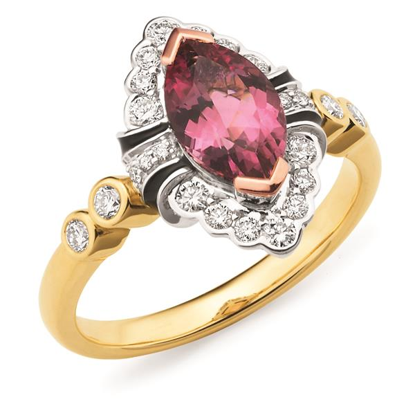 18ct Yellow Gold Pink Tourmaline Ring