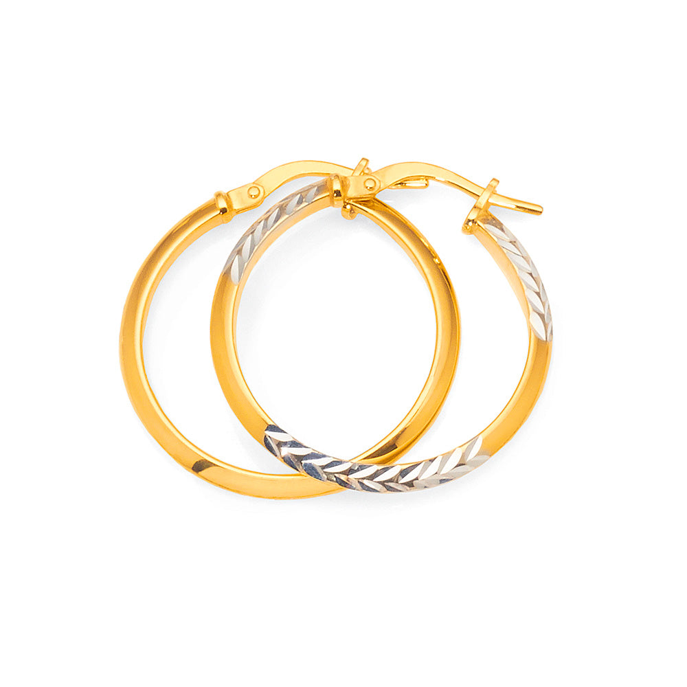 Yellow & White Gold Bonded 2-Tone Hoops