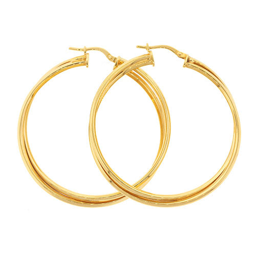 9ct Gold Bonded 40mm Hoop Earrings