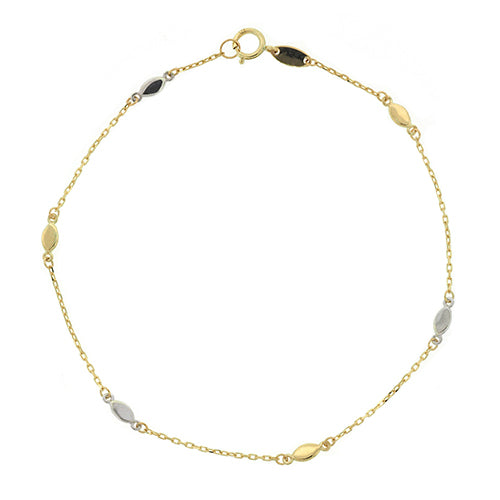 9ct 2-tone Gold 25cm Beaded Anklet