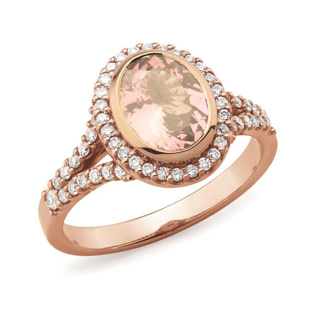 9ct Rose Gold Morganite & Diamond Ring