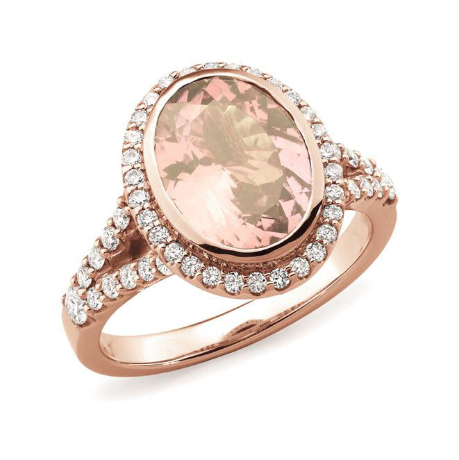9ct Rose Gold Morganite Diamond Ring