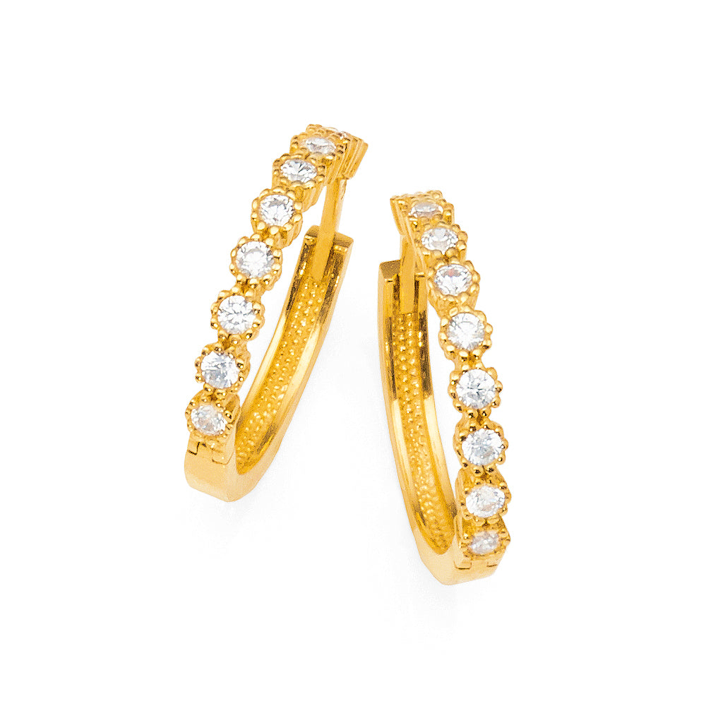 9ct Yellow Gold Cubic Zirconia 14mm Hoops
