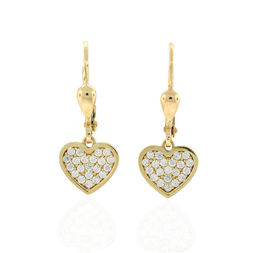 9ct Gold 10mm Cubic Zirconia Heart Hooks