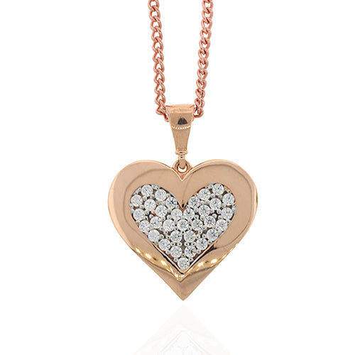 9ct Rose Gold 16mm Cubic Zirconia Heart Pendant