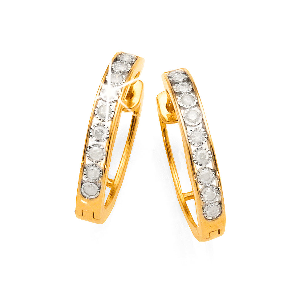 9ct Gold Diamond Hoop Earrings TW 0.23ct