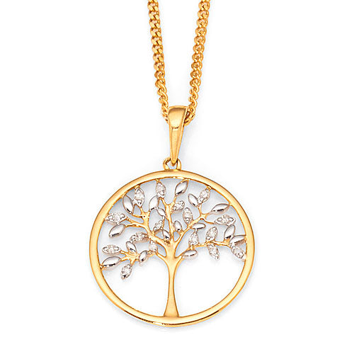 9ct Yellow & White Gold Diamond Tree Pendant