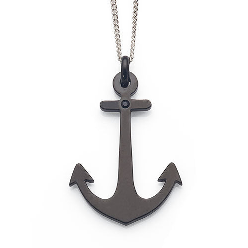 Black Stainless Steel Anchor Pendant
