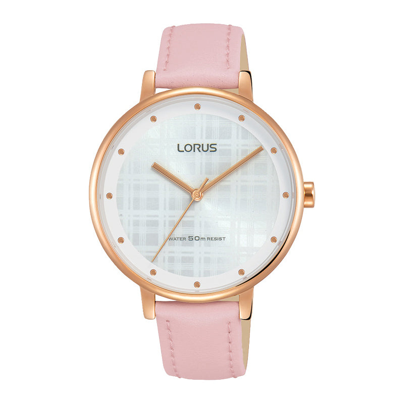 Lorus Ladies Pink Leather Strap Watch RG270PX-9