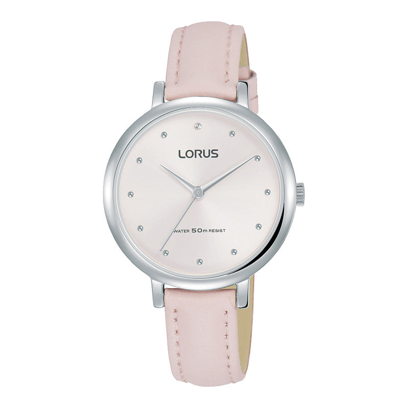 Lorus Ladies Pink Leather Strap Watch RG277PX-9