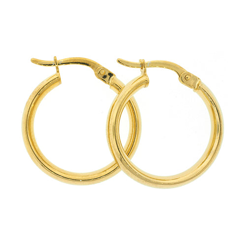 9ct Gold Bonded 15mm Plain Hoop Earrings