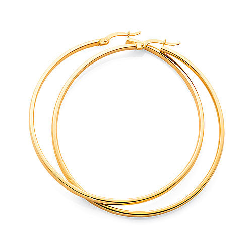Yellow Gold  Bonded 50mm Hoop Earrings