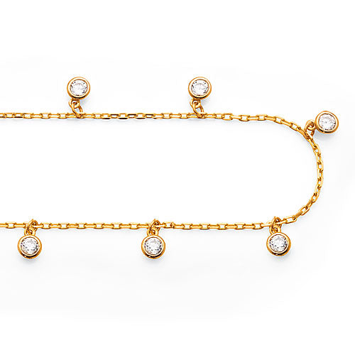 9ct Yellow Gold Cubic Zirconia Anklet