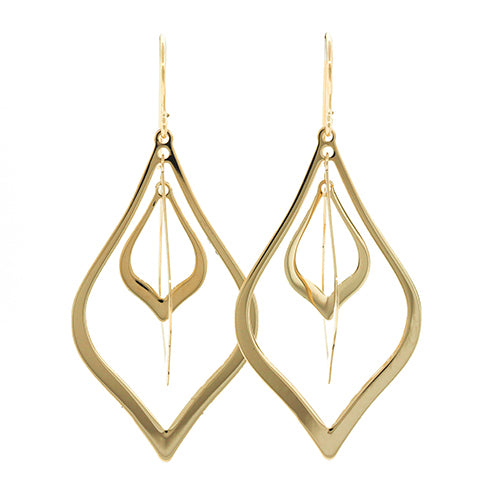 9ct Gold 35mm Drop Hook Earrings