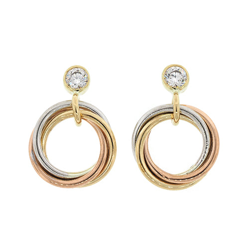9ct 3-Tone Gold Cubic Zirconia 11mm Circle Studs