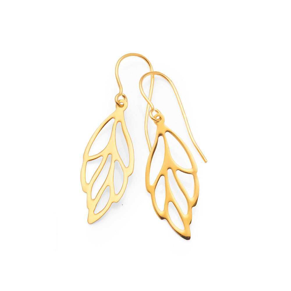 9ct Yellow Gold 'Leaf' Hooks