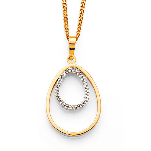 9ct Yellow Gold Crystal Teardrop Pendant