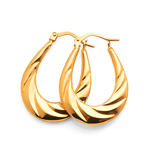9ct Yellow Gold Twist Tapered Oval Hoop Earrings