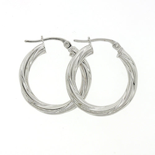 9ct White Gold 15mm Twist Hoop Earrings