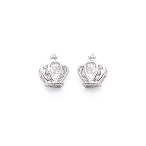 Sterling Silver Cubic Zirconia 'Crown' Studs