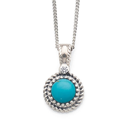Sterling Silver Round Turquoise Cubic Zirconia Beaded Edge