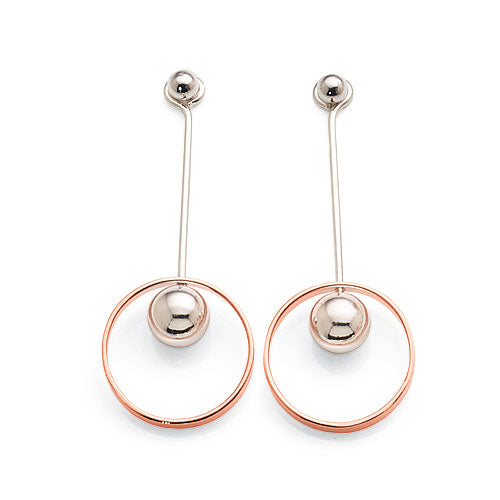 Sterling Silver Rose Tone Drop Studs