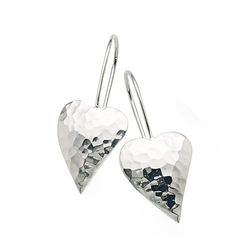Sterling Silver Heart Hook Earrings