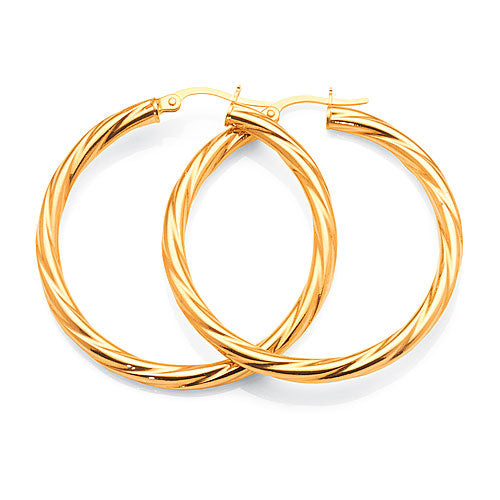9ct Yellow Gold 30mm Twist Hoops
