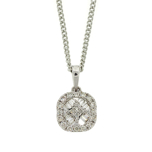 9ct White Gold Diamond-Set Pendant TW 0.30CT
