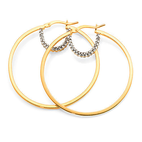 Yellow Gold Bonded Crystal Hoops