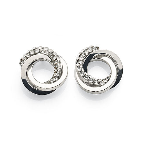 White Gold Bonded Crystal Studs