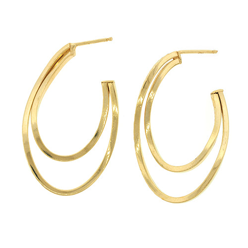 9ct Gold Curved Drop Stud Earrings