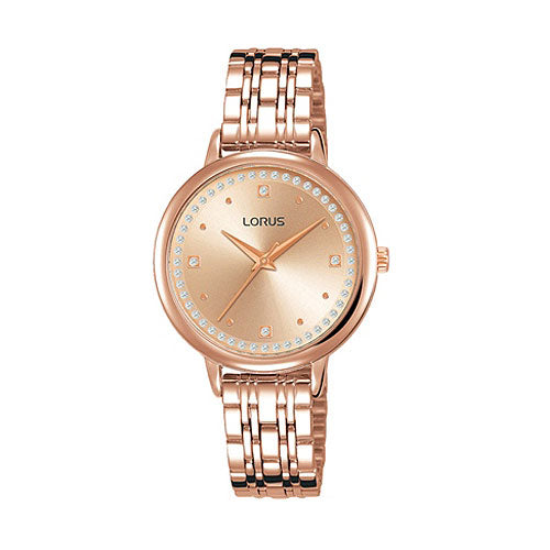Lorus Rose-Tone Crystal Dress Watch RG298PX-9