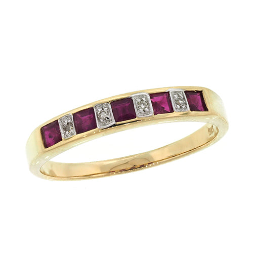 9ct Gold Ruby & Diamond Band